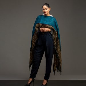 organic silk wrap neck cape teal blue