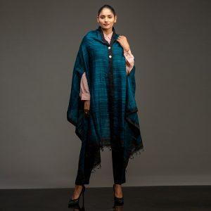 organic silk cape teal