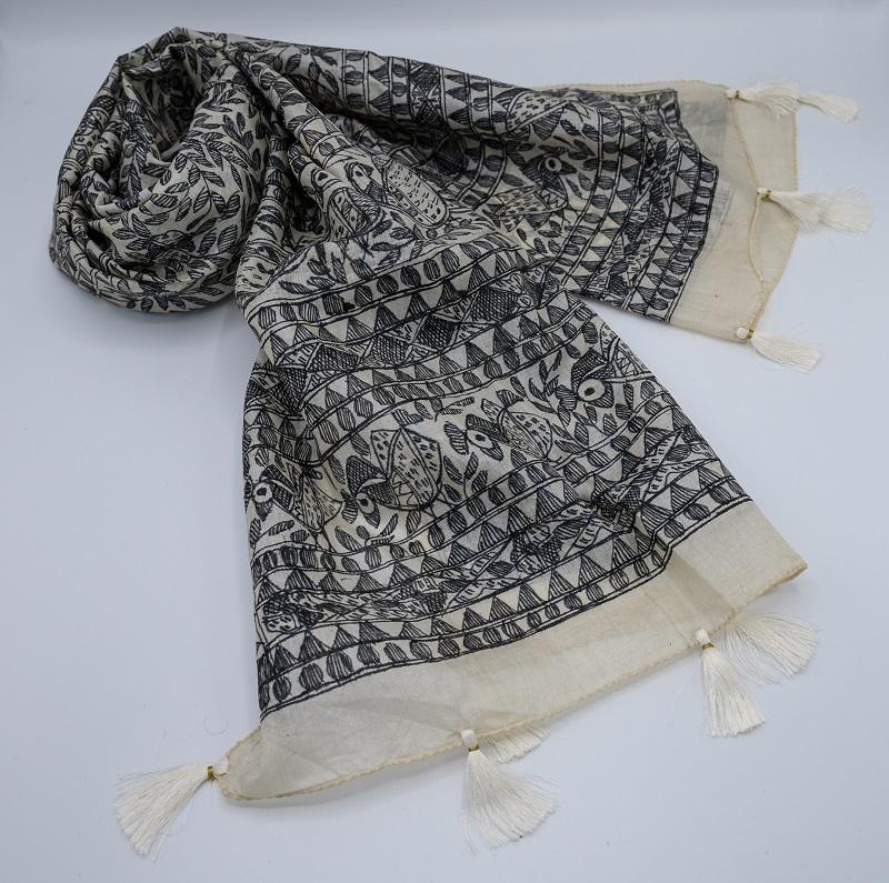 black tussar silk scarf