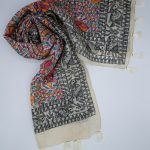 madhubani silk scarf